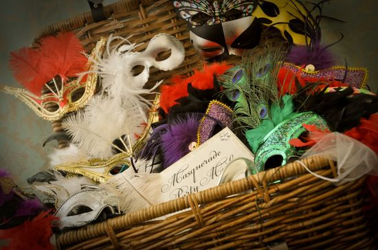 A basket full of masquerade masks, for our guests to have fun with...