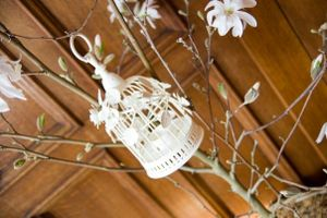 Magnolia Tree decorated with Laura Ashely bird-cage style tea-light holder...
